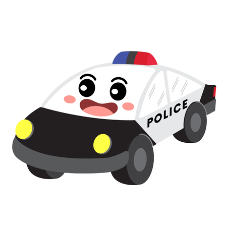 Police Car transportation cartoon character perspective view isolated on white background vector illustration.