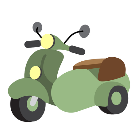 Sidecar transportation cartoon character perspective view isolated on white background vector illustration.
