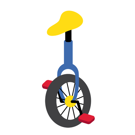 Unicycle transportation cartoon character perspective view isolated on white background vector illustration.