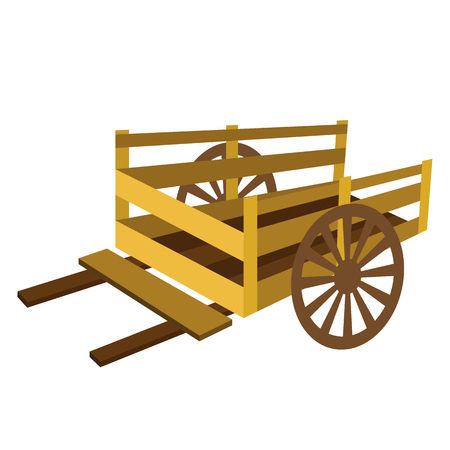 Wooden Cart transportation cartoon character perspective view isolated on white background vector illustration. Ilustrace