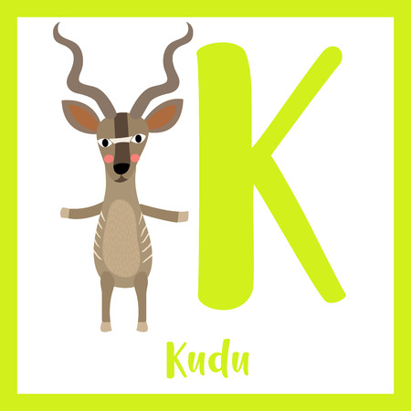 Cute children ABC animal zoo alphabet K letter flashcard of Kudu standing on two legs for kids learning English vocabulary. Vector illustration. Illustration
