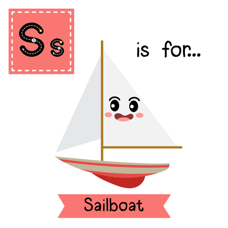 Letter S cute children colorful transportations ABC alphabet tracing flashcard of Sailboat for kids learning English vocabulary Vector Illustration.