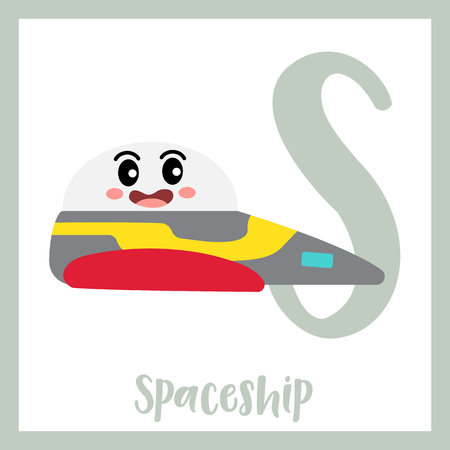 Letter S cute children colorful transportations ABC alphabet flashcard of Spaceship for kids learning English vocabulary Vector Illustration.
