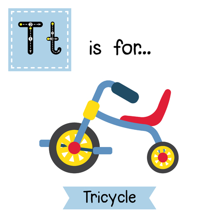 Letter T cute children colorful transportations ABC alphabet tracing flashcard of Childrens Tricycle for kids learning English vocabulary Vector Illustration. Illustration