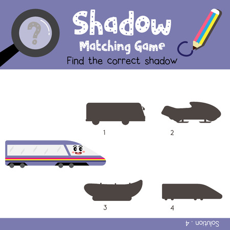 Shadow matching game of Bullet Train side view transportations for preschool kids activity worksheet colorful version. Vector Illustration. Illustration