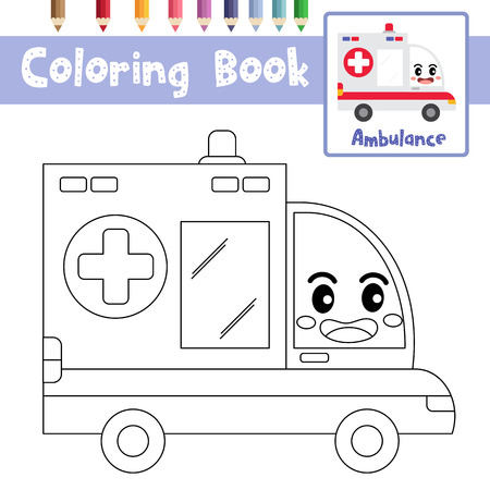 Coloring page of cute Ambulance cartoon character side view transportations for preschool kids activity educational worksheet. Vector Illustration.