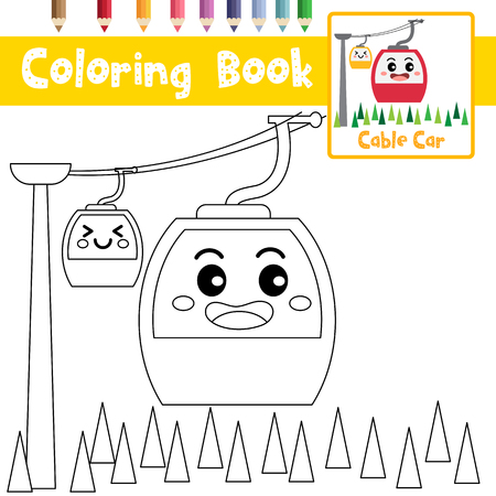 Coloring page of cute Cable Car cartoon character side view transportations for preschool kids activity educational worksheet. Vector Illustration.