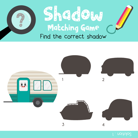 Shadow matching game of Camper side view transportations for preschool kids activity worksheet colorful version. Vector Illustration. Banque d'images - 115094003