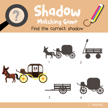 Shadow matching game of Carriage with horse side view transportations for preschool kids activity worksheet colorful version. Vector Illustration. Stock Illustratie