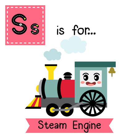 Letter S cute children colorful transportations ABC alphabet tracing flashcard of Steam Engine for kids learning English vocabulary Vector Illustration.