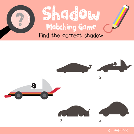 Shadow matching game of Go-Kart cartoon character side view transportations for preschool kids activity worksheet colorful version. Vector Illustration.