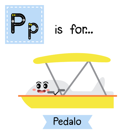 Letter P cute children colorful transportations ABC alphabet tracing flashcard of Pedalo for kids learning English vocabulary Vector Illustration.