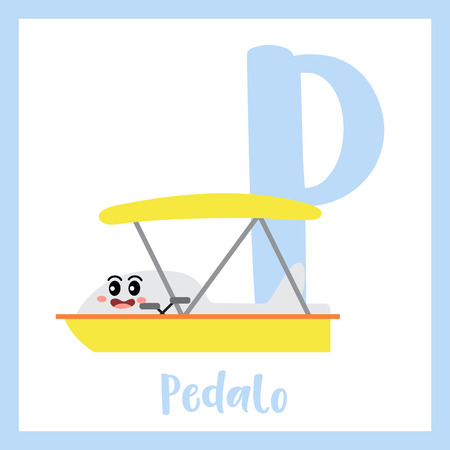 Letter P cute children colorful transportations ABC alphabet flashcard of Pedalo for kids learning English vocabulary Vector Illustration.