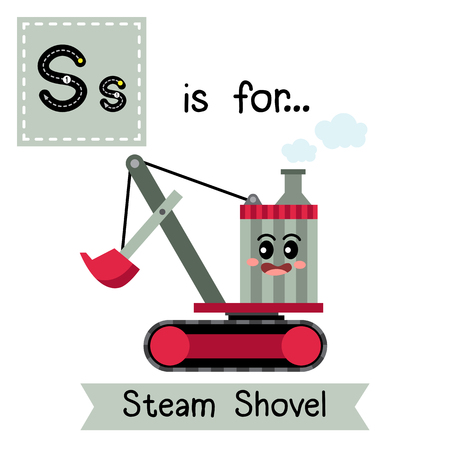 Letter S cute children colorful transportations ABC alphabet tracing flashcard of Steam Shovel for kids learning English vocabulary Vector Illustration.