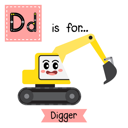 Letter D cute children colorful transportations alphabet tracing flashcard of Digger for kids learning English vocabulary Vector Illustration.