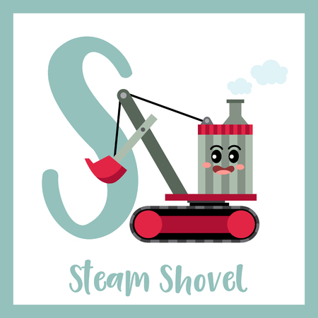 Letter S cute children colorful transportations ABC alphabet flashcard of Steam Shovel for kids learning English vocabulary Vector Illustration. Ilustração
