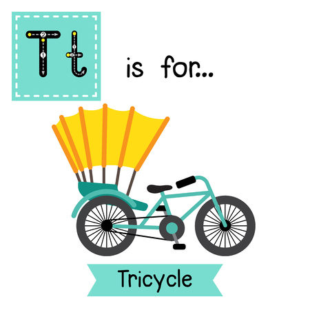 Letter T cute children colorful transportations ABC alphabet tracing flashcard of Tricycle for kids learning English vocabulary Vector Illustration.