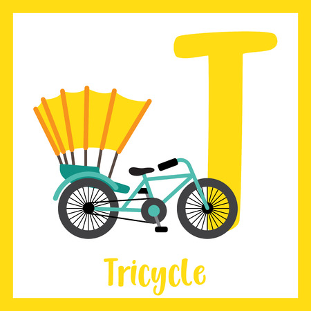 Letter T cute children colorful transportations ABC alphabet flashcard of Tricycle for kids learning English vocabulary Vector Illustration. Illustration
