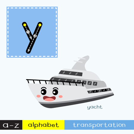 Letter Y lowercase children colorful transportations ABC alphabet tracing flashcard for kids learning English vocabulary and handwriting Vector Illustration.