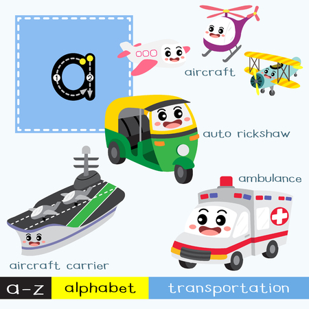 Letter A lowercase children colorful transportations ABC alphabet tracing flashcard for kids learning English vocabulary and handwriting Vector Illustration.
