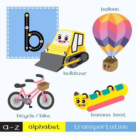 Letter B lowercase children colorful transportations ABC alphabet tracing flashcard for kids learning English vocabulary and handwriting Vector Illustration. Vettoriali