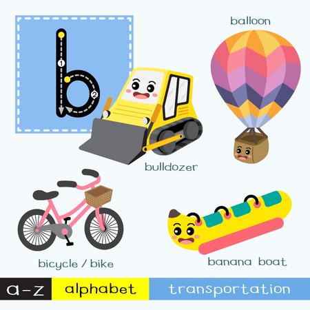 Lettre B minuscules enfants transportations colorées alphabet ABC traçage flashcard pour les enfants apprenant le vocabulaire anglais et l'écriture manuscrite Vector Illustration.