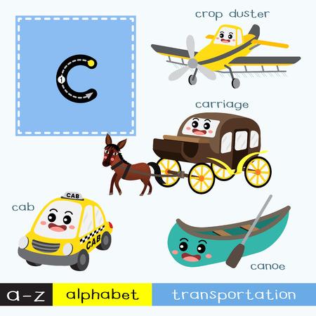 Letter C lowercase children colorful transportations ABC alphabet tracing flashcard for kids learning English vocabulary and handwriting Vector Illustration. Vektoros illusztráció