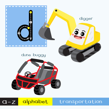 Letter D lowercase children colorful transportations ABC alphabet tracing flashcard for kids learning English vocabulary and handwriting Vector Illustration.