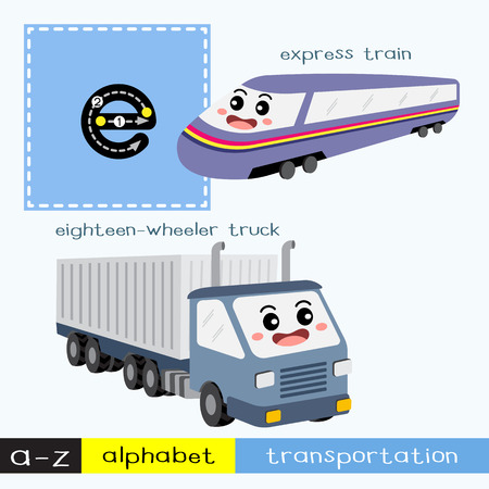 Letter E lowercase children colorful transportations ABC alphabet tracing flashcard for kids learning English vocabulary and handwriting Vector Illustration.