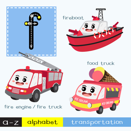 Letter F lowercase children colorful transportations ABC alphabet tracing flashcard for kids learning English vocabulary and handwriting Vector Illustration. Vecteurs