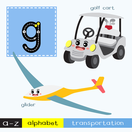 Letter G lowercase children colorful transportations ABC alphabet tracing flashcard for kids learning English vocabulary and handwriting Vector Illustration.