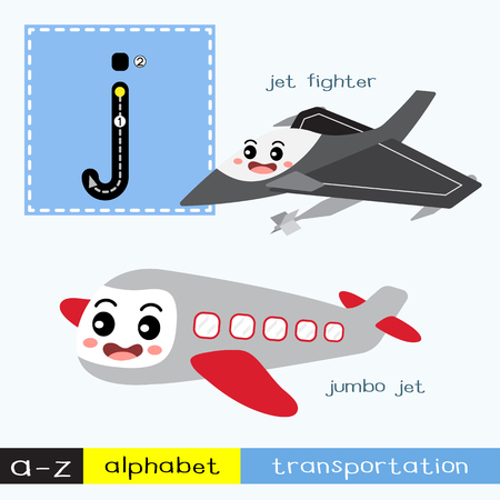 Letter J lowercase children colorful transportations ABC alphabet tracing flashcard for kids learning English vocabulary and handwriting Vector Illustration.