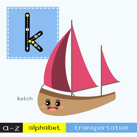 Letter K lowercase children colorful transportations ABC alphabet tracing flashcard for kids learning English vocabulary and handwriting Vector Illustration.