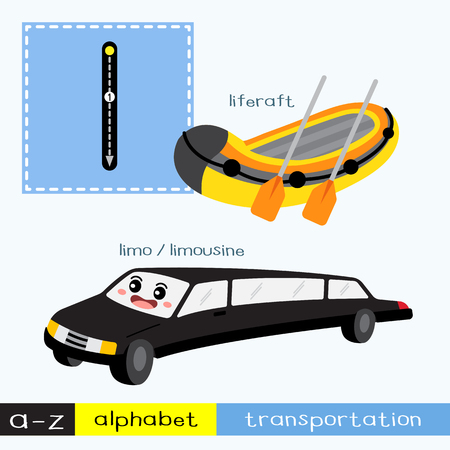 Letter L lowercase children colorful transportations ABC alphabet tracing flashcard for kids learning English vocabulary and handwriting Vector Illustration.