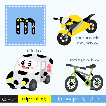 Letter M lowercase children colorful transportations ABC alphabet tracing flashcard for kids learning English vocabulary and handwriting Vector Illustration. Vecteurs