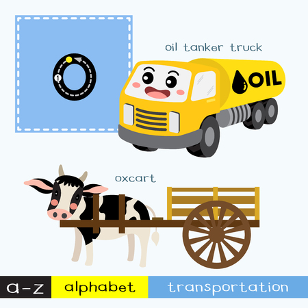 Letter O lowercase children colorful transportations ABC alphabet tracing flashcard for kids learning English vocabulary and handwriting Vector Illustration.