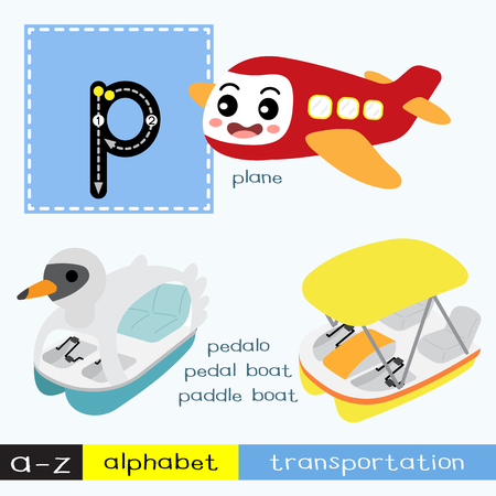 Letter P lowercase children colorful transportations ABC alphabet tracing flashcard for kids learning English vocabulary and handwriting Vector Illustration.
