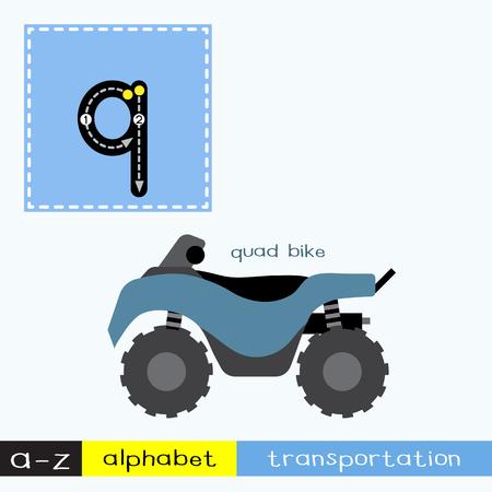 Lettre Q enfants minuscules transports colorés ABC alphabet traçage flashcard pour les enfants qui apprennent le vocabulaire anglais et l'écriture manuscrite Illustration vectorielle. Vecteurs