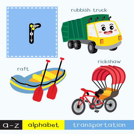 Letter R lowercase children colorful transportations ABC alphabet tracing flashcard for kids learning English vocabulary and handwriting Vector Illustration.