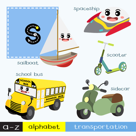 Letter S lowercase children colorful transportations ABC alphabet tracing flashcard for kids learning English vocabulary and handwriting Vector Illustration. Vettoriali