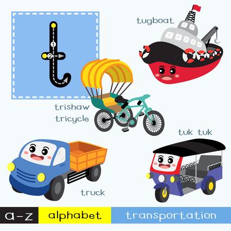 Lettre T enfants minuscules transports colorés ABC alphabet traçage flashcard pour les enfants qui apprennent le vocabulaire anglais et l'écriture manuscrite Illustration vectorielle.