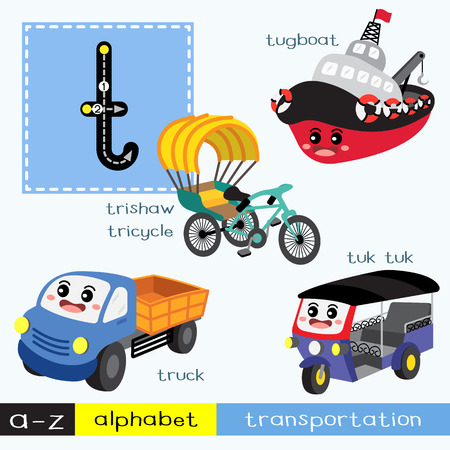 Letter T lowercase children colorful transportations ABC alphabet tracing flashcard for kids learning English vocabulary and handwriting Vector Illustration.