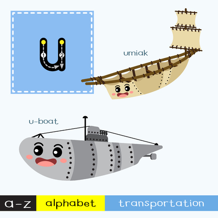 Letter U lowercase children colorful transportations ABC alphabet tracing flashcard for kids learning English vocabulary and handwriting Vector Illustration.