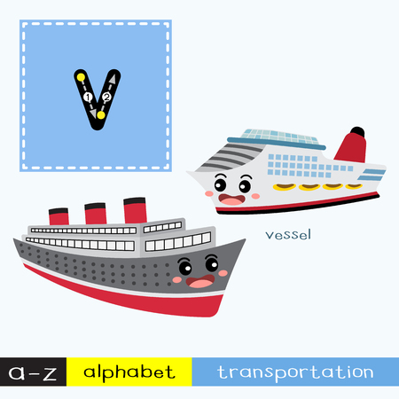 Letter V lowercase children colorful transportations ABC alphabet tracing flashcard for kids learning English vocabulary and handwriting Vector Illustration.
