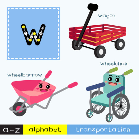 Letter W lowercase children colorful transportations ABC alphabet tracing flashcard for kids learning English vocabulary and handwriting Vector Illustration.