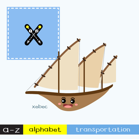 Letter X lowercase children colorful transportations ABC alphabet tracing flashcard for kids learning English vocabulary and handwriting Vector Illustration.