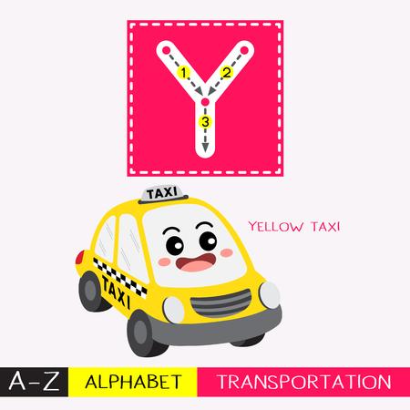 Letra Y mayúscula niños coloridos transportes ABC alfabeto rastreo flashcard para niños que aprenden vocabulario en inglés y escritura a mano ilustración vectorial.
