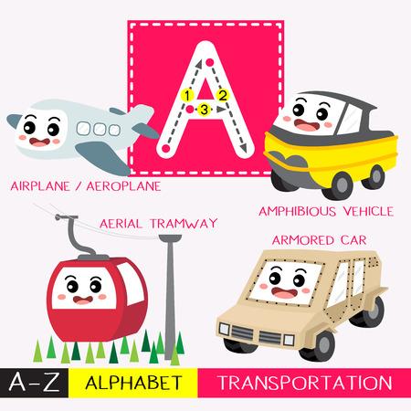 Letra A mayúscula niños coloridos transportes ABC alfabeto trazado flashcard para niños que aprenden vocabulario en inglés y escritura a mano ilustración vectorial.
