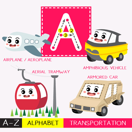 Letter A uppercase children colorful transportations ABC alphabet tracing flashcard for kids learning English vocabulary and handwriting Vector Illustration.