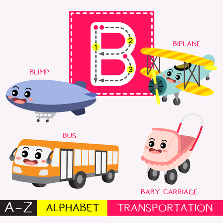 Letter B uppercase children colorful transportations ABC alphabet tracing flashcard for kids learning English vocabulary and handwriting Vector Illustration.